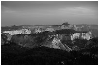 Forested plateaus and canyons at sunset from Lava Point. Zion National Park ( black and white)