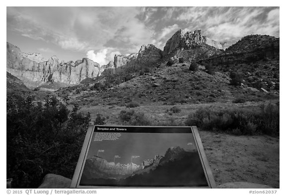 Temples and Towers intepretive Sign. Zion National Park (black and white)