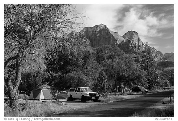 Watchman Campground. Zion National Park (black and white)