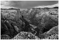 Approaching storm over Zion Canyon from East Rim. Zion National Park ( black and white)