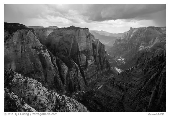 Thunderstorm over Zion Canyon from above. Zion National Park (black and white)