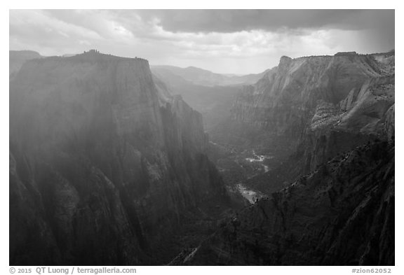 Storm over Zion Canyon. Zion National Park (black and white)