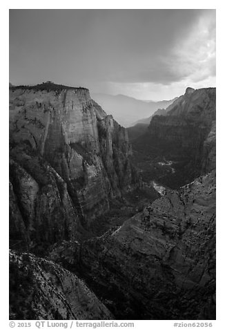 Dark storm clouds over Zion Canyon. Zion National Park (black and white)