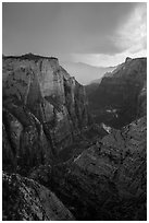 Dark storm clouds over Zion Canyon. Zion National Park ( black and white)