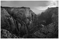 Zion Canyon during afternoon thunderstorm. Zion National Park ( black and white)