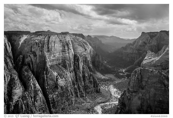 Black and white picture photo multi colored cliffs of zion canyon from observation point zion national park