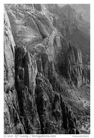 Rock towers bordering Zion Canyon from above. Zion National Park (black and white)