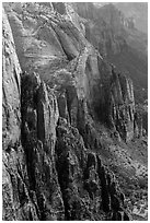 Rock towers bordering Zion Canyon from above. Zion National Park ( black and white)