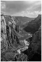 Zion Canyon from above. Zion National Park ( black and white)