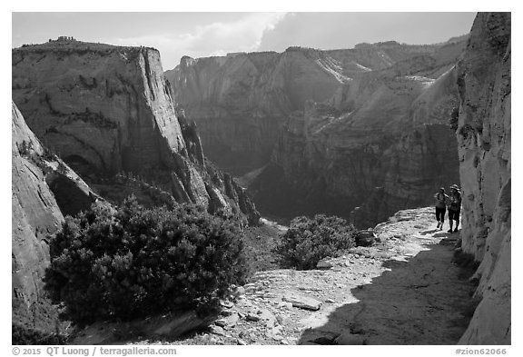 Hikers on East Rim trail. Zion National Park (black and white)