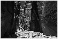 Hikers in Orderville Canyon. Zion National Park ( black and white)