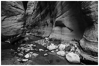 White boulders, Orderville Canyon. Zion National Park ( black and white)