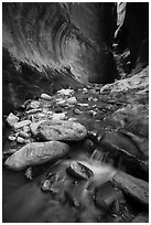 Cascading stream and boulders, Orderville Canyon. Zion National Park ( black and white)