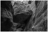 Large jammed boulder, Orderville Canyon. Zion National Park ( black and white)