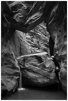 Large boulder creating waterfall with Guillotine boulder above, Orderville Canyon. Zion National Park ( black and white)