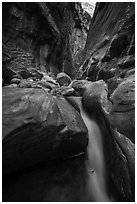 Cascade and boulder in Orderville Canyon. Zion National Park ( black and white)