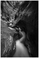 Twisted and narrow watercourse, Orderville Canyon. Zion National Park ( black and white)
