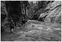 Hikers walking in the Virgin River narrows. Zion National Park ( black and white)