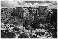 Backpackers on West Rim Trail. Zion National Park ( black and white)
