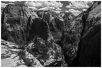 Great White Throne, Angels Landing, and Walters Wiggles. Zion National Park ( black and white)