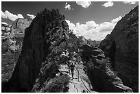 Hikers on narrow spine of Angels Landing. Zion National Park ( black and white)