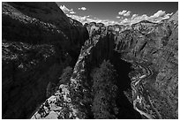 Hikers descend vertiginous spine of Angels Landing. Zion National Park ( black and white)