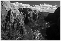Zion Canyon from Angels Landing, afternoon. Zion National Park ( black and white)