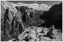 Cairns on Angels Landing. Zion National Park ( black and white)