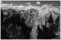 View north from Angels Landing. Zion National Park ( black and white)