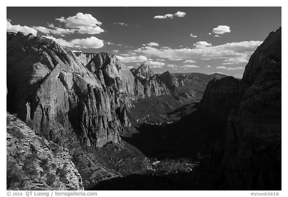 Zion Canyon and shadows from Angels Landing. Zion National Park (black and white)
