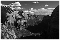 Zion Canyon and shadows from Angels Landing. Zion National Park ( black and white)