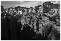 End of Zion Canyon seen from Angels Landing. Zion National Park ( black and white)