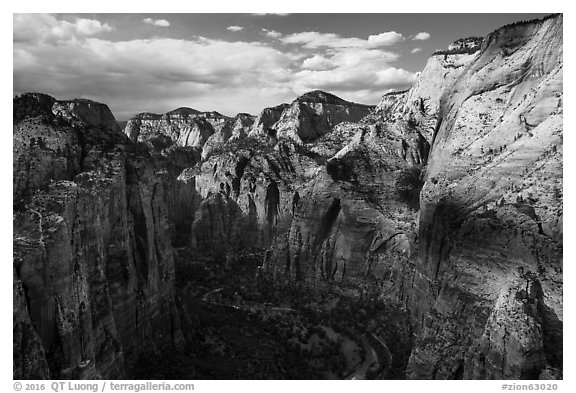 North end of Zion Canyon from Angels Landing. Zion National Park (black and white)