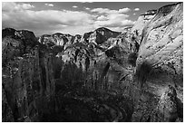 North end of Zion Canyon from Angels Landing. Zion National Park ( black and white)