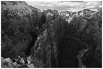 Hikers on Angels Landing Trail. Zion National Park ( black and white)
