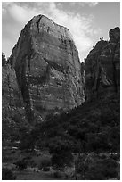 Great White Throne, late afternoon. Zion National Park ( black and white)
