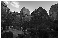 Great White Throne and Organ at sunset. Zion National Park ( black and white)