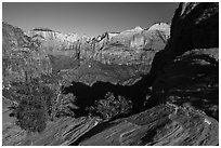 Canyon Overlook, early morning. Zion National Park ( black and white)