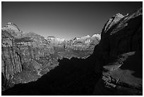 Shadow and canyon from Canyon Overlook. Zion National Park ( black and white)
