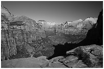 Tall sandstone cliffs from Canyon Overlook. Zion National Park ( black and white)
