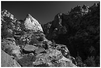 White Deertrap Mountain stands out amongst red sandstone. Zion National Park ( black and white)