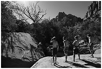Children on rock above swimming hole, Pine Creek. Zion National Park ( black and white)