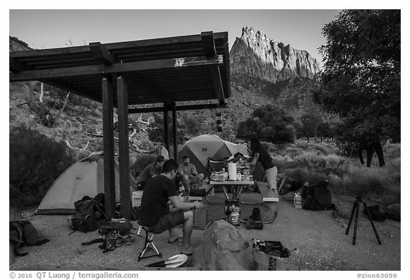 Campsite and Watchman at sunset. Zion National Park (black and white)