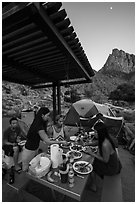 Gourmet dinner at Watchman Campground. Zion National Park ( black and white)