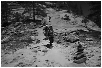 Cairn and hikers, Russell Gulch. Zion National Park ( black and white)