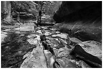 Stream funelling in tight watercourse, Left Fork. Zion National Park ( black and white)