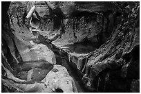 Tight channel in canyon, Left Fork. Zion National Park ( black and white)