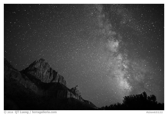 Milky Way and Watchman. Zion National Park (black and white)