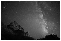 Milky Way and Watchman. Zion National Park ( black and white)