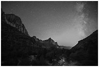 Virgin River, Watchman, and Milky Way. Zion National Park ( black and white)